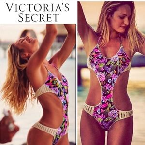 Victoria's Secret Crochet Monokini Swimsuit M